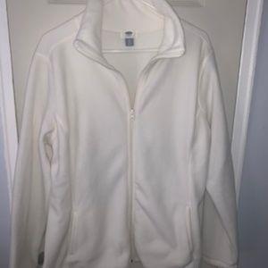 Fluffy White Zippered Sweater